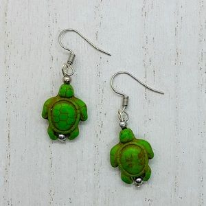 Green turtle earrings